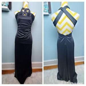 Black jewel neck halter prom dress size 1/2